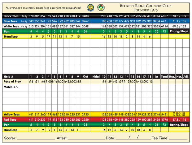 Beckett Ridge Golf Club scorecard